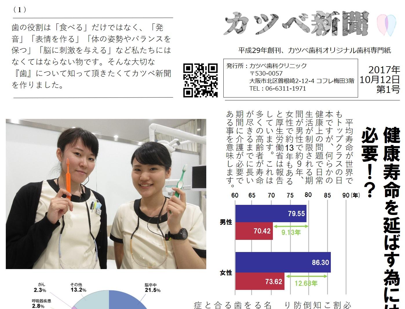 健康寿命を延ばす為には歯が必要!?(カツベ新聞第1号)